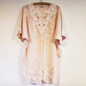 Vintage Natori Lingerie Pink Lace Caftan Nightgown
